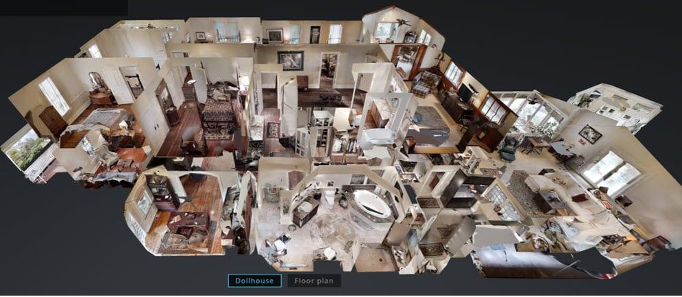 3D půdorys historického luxusního domu na adrese 174 Cowan St, Sylva NC